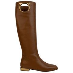 Salvatore Ferragamo Tan Leather Avio 10 Flat Boots Size US 7C EU 37.5