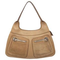 Salvatore Ferragamo Tan Leather & Suede Shoulder Bag