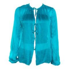 Salvatore Ferragamo Teal Blue Silk Plisse Long Sleeve Shirt S