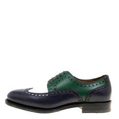 Salvatore Ferragamo Tricolor Brogue Leather Lawson Wingtip Derby Size 41