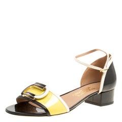 Salvatore Ferragamo Tricolor Leather Glenn Ankle Strap Sandals Size 40.5