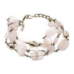Salvatore Ferragamo Tumbled Rose Quartz Gold Tone Bead Bracelet