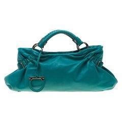 Salvatore Ferragamo Turquoise Leather Ottavia Satchel