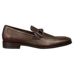 SALVATORE FERRAGAMO Twist Size 8 Dark Brown Pebble Leather Loafers