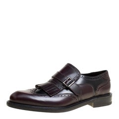 Salvatore Ferragamo Two Tone Brogue Leather Genesis Fringe Detail Wingtip Loafer