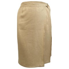 Salvatore Ferragamo Vintage Beige Linen and Silk Wrap Skirt Size 44