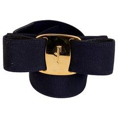 Salvatore Ferragamo Vintage Blue Gros Grain Vara Bow Belt Size M
