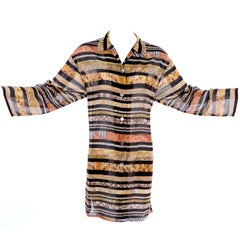 Salvatore Ferragamo Vintage Cotton Rayon Semi Sheer Animal Print Tunic