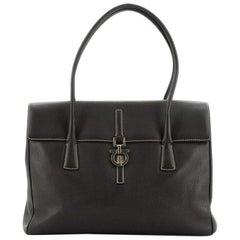 Salvatore Ferragamo Vintage Gancini Flap Shoulder Bag Leather Large