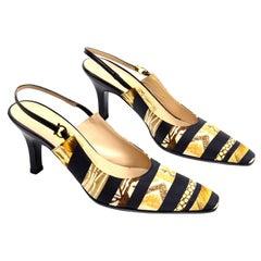 Salvatore Ferragamo Vintage Gold Silk Scarf Print Slingback Leather Shoes