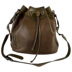 Salvatore Ferragamo Vintage Green Leather Drawstring Bucket Bag