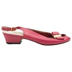 Salvatore Ferragamo Vintage Pink Slingback Peep-Toe Pumps