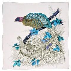 Salvatore Ferragamo Vintage Silk Scarf Blue Green Gray W Pheasants & Flowers