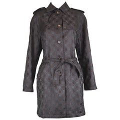 Salvatore Ferragamo Vintage Women's Black Logo Pattern Jacquard Trench Coat