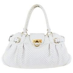 Salvatore Ferragamo White Anaconda Shoulder Bag with Gold Hardware and Flap