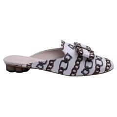 Salvatore Ferragamo White Chain Sciacca Twill Shoes Size US 11C EU 41.5