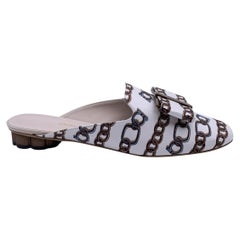 Salvatore Ferragamo White Chain Sciacca Twill Shoes Size US 7.5C EU 38