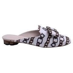 Salvatore Ferragamo White Chain Sciacca Twill Shoes Size US 9C EU 39.5