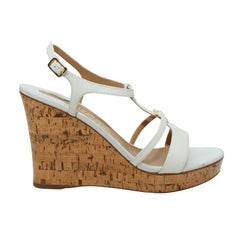Salvatore Ferragamo White Cork Wedge Sandals