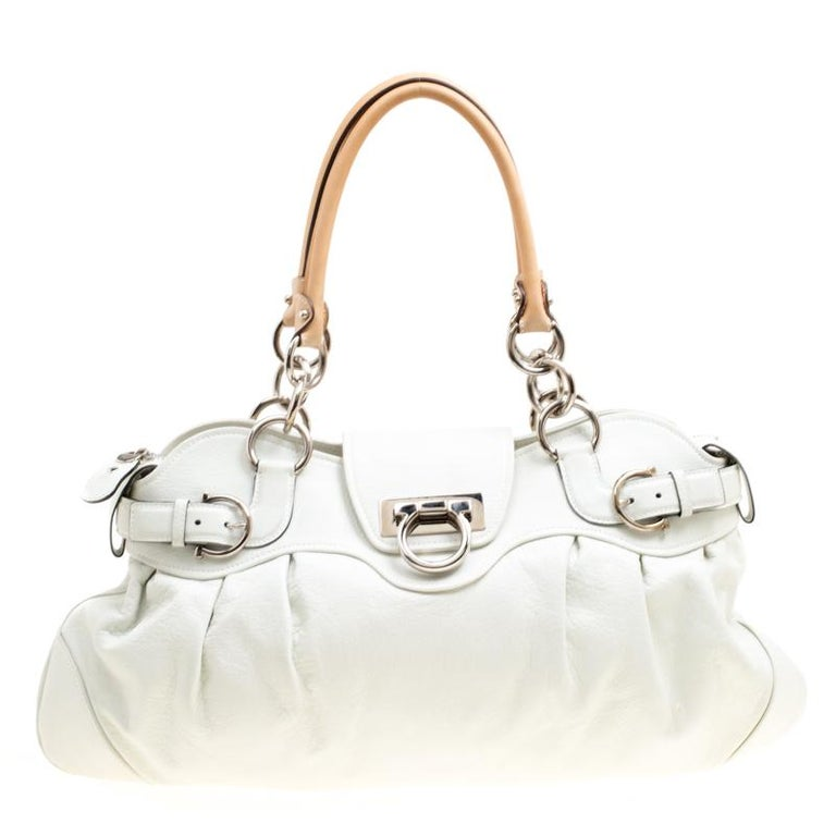 c5ba47adb6 Salvatore Ferragamo White Leather Marisa Satchel For Sale at 1stdibs