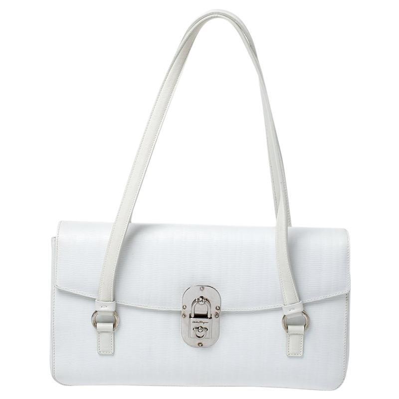 Salvatore Ferragamo White Leather Padlock Flap Shoulder Bag