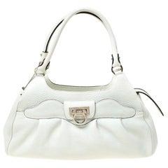 Salvatore Ferragamo White Leather Satchel