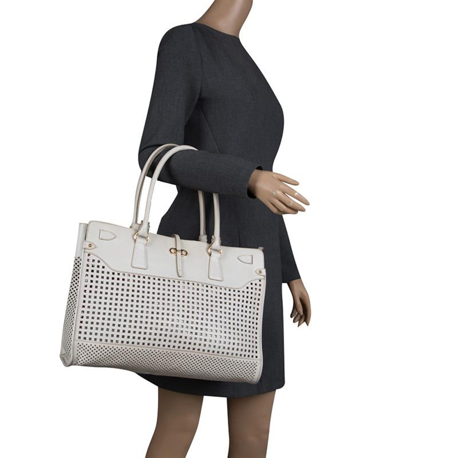 d066d7f54a Salvatore Ferragamo White Perforated Leather Large Briana Tote For Sale at  1stdibs