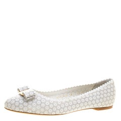 Salvatore Ferragamo White Perforated Leather Varina Lace Ballet Flats Size 40