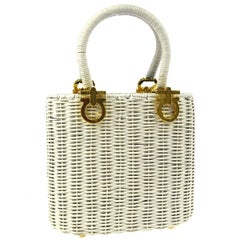 Salvatore Ferragamo White Wicker Basket Top Handle Satchel Small Mini Tote Bag