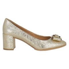 Salvatore Ferragamo Woman Pumps Gold Leather US 8.5