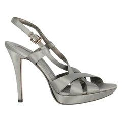Salvatore Ferragamo Woman Sandals Grey Fabric IT 37