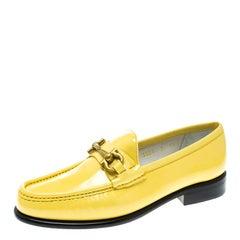 Salvatore Ferragamo Women Yellow Patent Leather Mason Gancio Bit Loafers Size 37