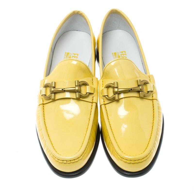 Bit Yellow Leather Gancio 38 Ferragamo Mason Patent Loafers Salvatore Size Women MVSUzp