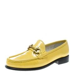 Salvatore Ferragamo Women Yellow Patent Leather Mason Gancio Bit Loafers Size 38