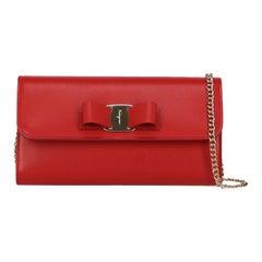 Salvatore Ferragamo Women's Shoulder Bag Red Leather