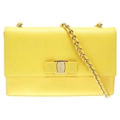 Salvatore Ferragamo Yellow Leather Ginny Shoulder Bag