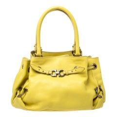 Salvatore Ferragamo Yellow Leather Satchel