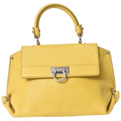 Salvatore Ferragamo Yellow Leather Sofia Satchel Purse Bag
