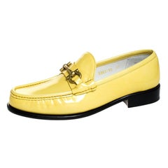 Salvatore Ferragamo Yellow Patent Leather Mason Loafers Size 44