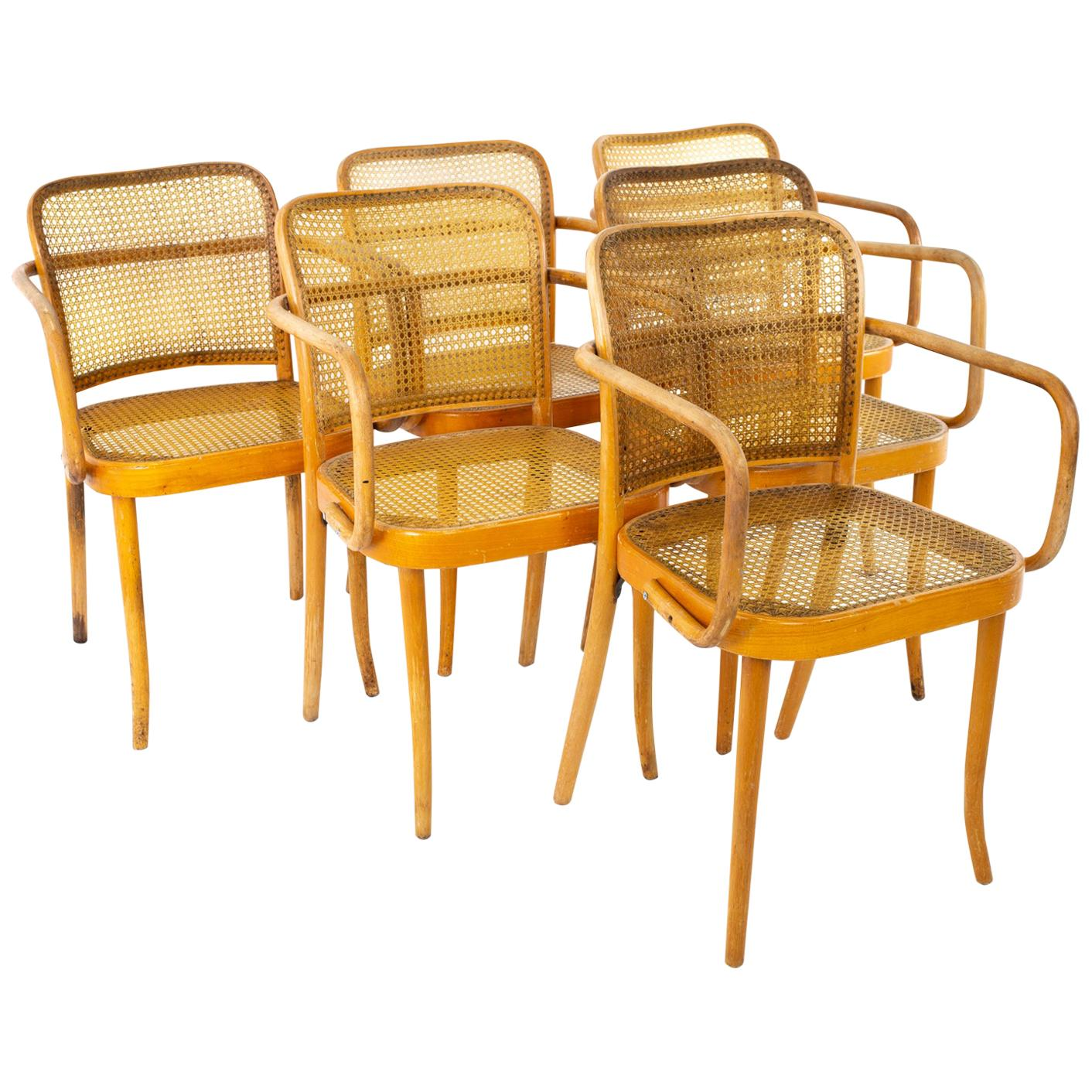 Salvatore Leone Thonet Style Mid Century Bentwood & Cane Dining Chairs, Set of 6