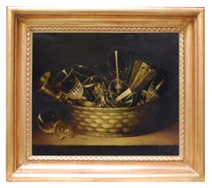 GLASSES' S COMPOSITION -Italian still life oil on canvas painting, S. Marinelli