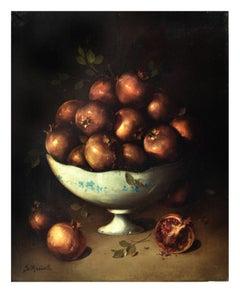 POMEGRANATES - Italian still life oil on canvas painting, Salvatore Marinelli