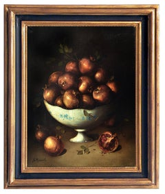 POMEGRANATES - Dutch School -Italian Still Life Oil on Canvas Painting