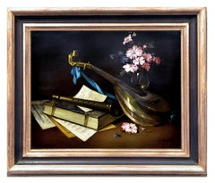 STILL LIFE -In the Manner of Evaristo Baschenis Italian Oil on Canvas Painting,