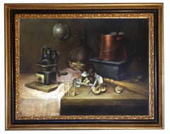 STILL LIFE - In the Manner of  Hendrick Bos - Oil on Canvas Italian Painting