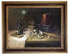 Still Life - Salvatore Marinelli Oil on Canvas Italian Painting