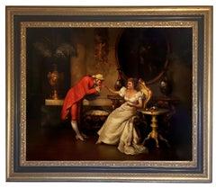 ROMANTIC SCENE - French School - Oil on Canvas Italian Figurative Painting