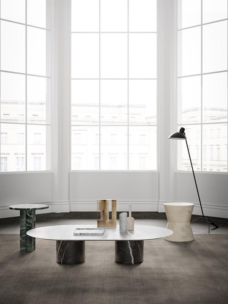 Contemporary Salvatori 'Love Me, Love Me Not' Round Side Table in Verde Alpi Marble For Sale