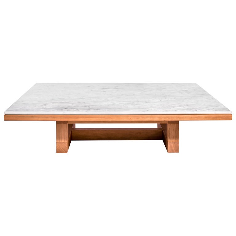 Salvatori Span Coffee Table in Bianco Carrara and Cherrywood by John Pawson For Sale