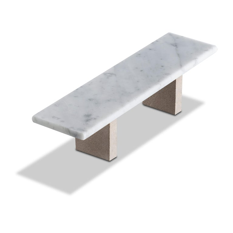 Italian Salvatori Span Outdoor Dining Table in Bianco Carrara and Avana by John Pawson For Sale
